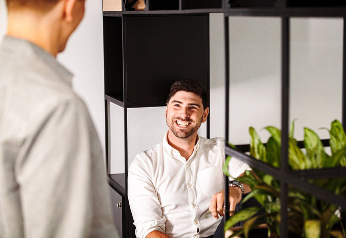 colleagues laughing